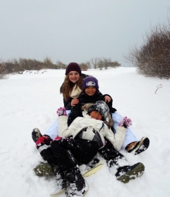 Sledding with my host siblings