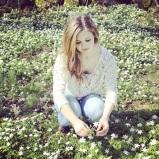 Playing in a flower garden