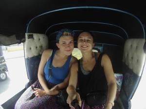 Bella and I riding in a tuktuk