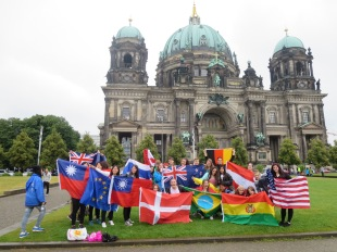 Berlin church with all my exchange student friends representing their countries