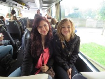 On the bus with my fellow American friend Athena