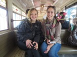 Riding the train around the Disneyland Park