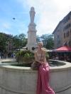 Sitting on a fountain in Geneva
