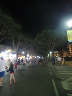 Streets of Lido de Josol, Italy come alive at night